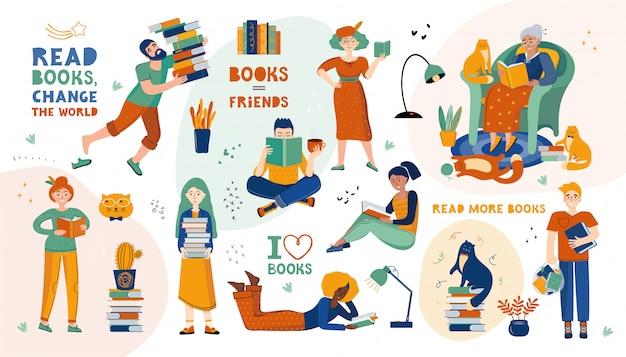 Aficionados literarios. las personas y los gatos leen libros, grandes pilas de libros, citas sobre lectura. gran conjunto de amantes de la literatura y la lectura. dibujado a mano ilustración escandinava. puntos, estrellas y manchas.