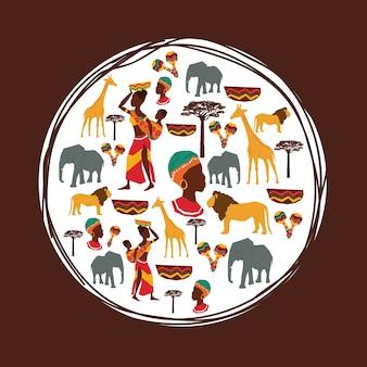 África representada por su diseño de animales y personas