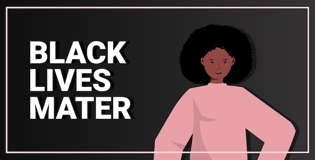Afroamericana contra la discriminación racial las vidas negras importan concepto problemas sociales de racismo vertical horizontal