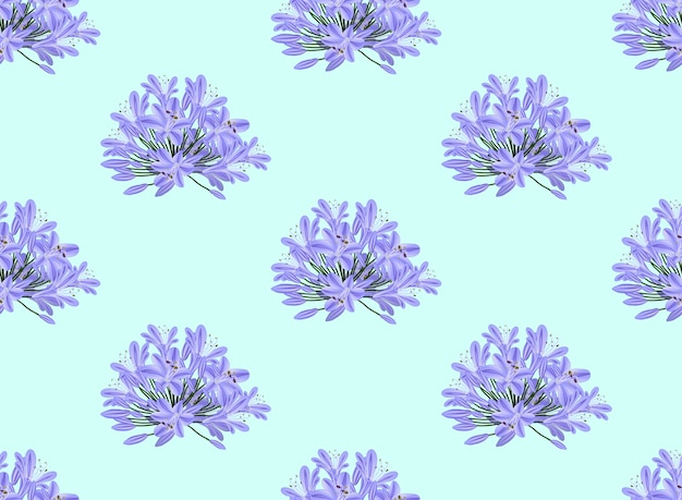 Agapanthus azul púrpura sobre fondo azul claro