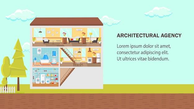 Agencia de arquitectura plana ilustración vectorial.