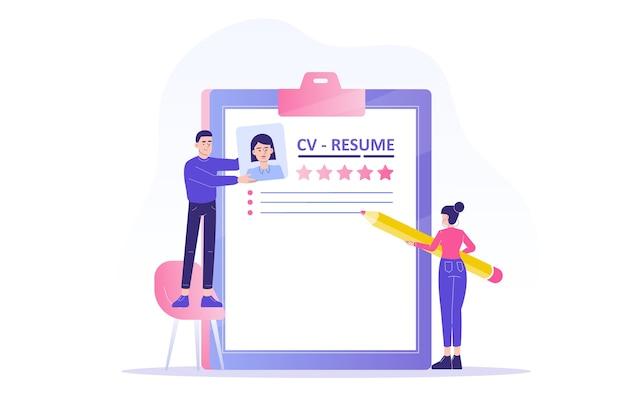 Agencia de contratación o de búsqueda de personal con personas que crean un currículum vitae para el candidato al trabajo