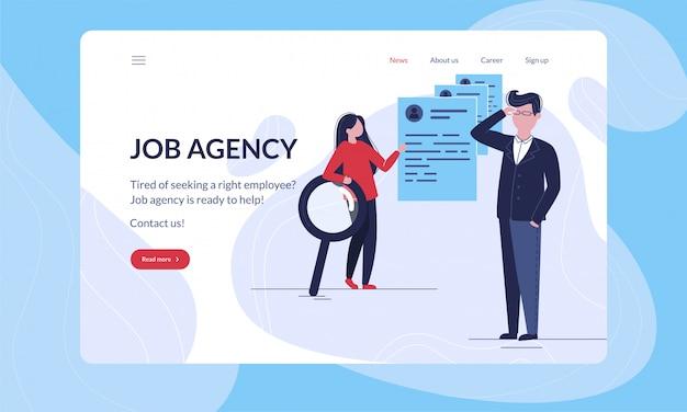 Agencia de empleo moderna primera plantilla de ilustración