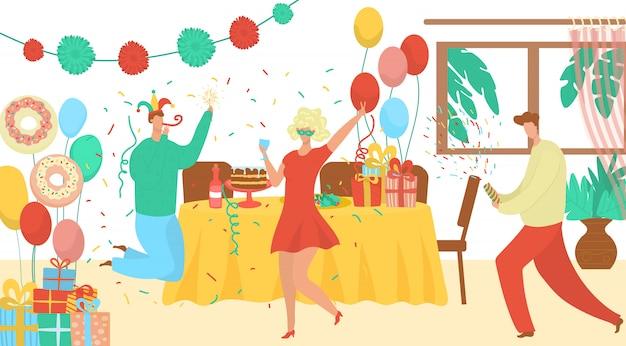 La agencia de eventos de fiesta de cumpleaños ofrece ilustración plana con payasos, decoraciones, cajas de regalo. fechas especiales, celebración familiar y de cumpleaños.