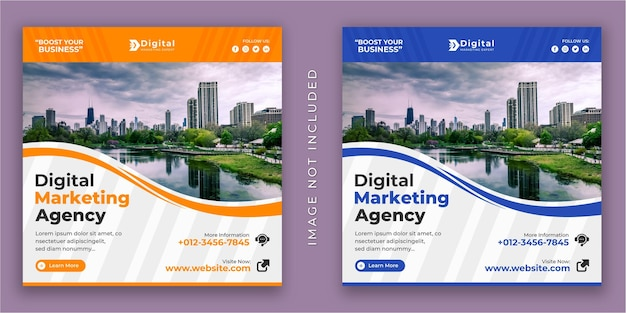 Agencia de marketing digital y folleto de negocios corporativos banner de publicación de redes sociales de instagram cuadrado