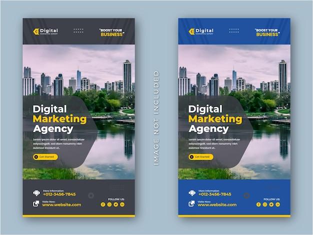 Agencia de marketing digital y folleto de negocios corporativos historias de instagram banner de publicación en redes sociales