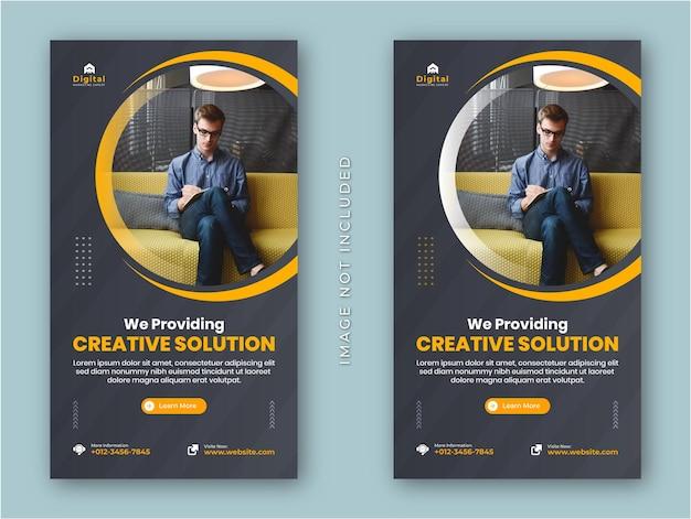 Agencia de marketing digital y folleto de negocios corporativos historias modernas de instagram prohibición de publicación en redes sociales