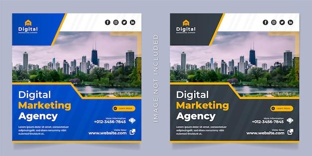 Agencia de marketing digital y folleto de negocios corporativos plantilla de banner de publicación de instagram de redes sociales cuadradas