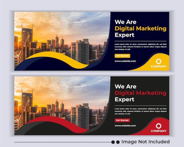 Agencia de negocios corporativos banner web plantilla de portada de facebook de redes sociales.
