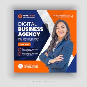Agencia de negocios digitales banner de medios sociales o plantilla de volante cuadrado