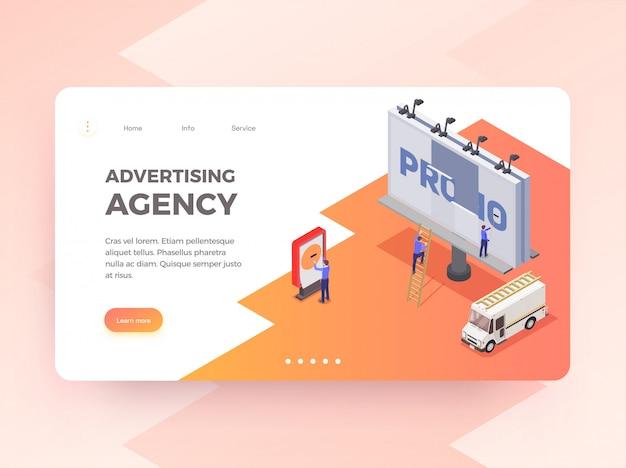 Agencia de publicidad banner horizontal isométrica con personas cambiando cartelera 3d