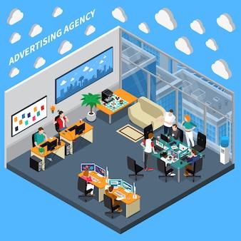 Agencia de publicidad composición isométrica