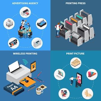 Agencia de publicidad concepto de imprenta 4 composiciones isométricas con tecnología digital creando imágenes dispositivo de prensa