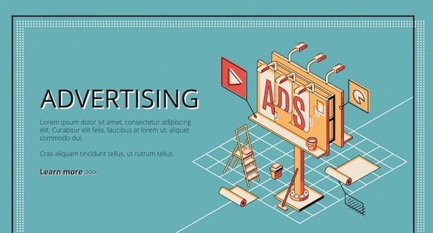 Agencia de publicidad, empresa de marketing digital, servicio de promoción online banner web isométrico.