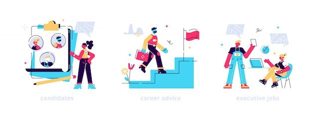 Agencia de reclutamiento y headhunting, conjunto de servicios de empleo. contratación de empleados. candidatos, asesoramiento profesional, metáforas de puestos ejecutivos.