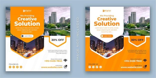 Agencia de soluciones creativas y folleto de negocios corporativos banner de publicación de redes sociales de instagram cuadrado