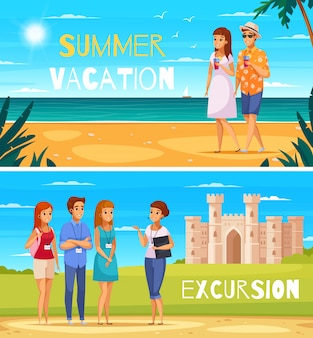 Agencia de viajes de dibujos animados banners