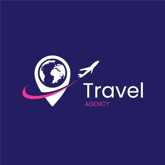 Agencia de viajes con diseño de logotipo de avión