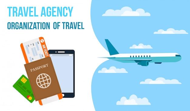 Agencia de viajes horizontal vector banner.