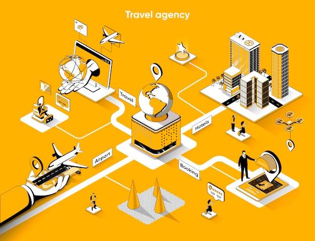 Agencia de viajes isométrica web banner isometría plana