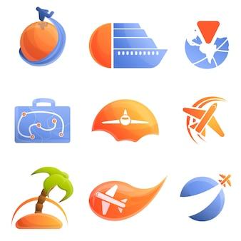 Agencia de viajes logo conjunto, estilo de dibujos animados