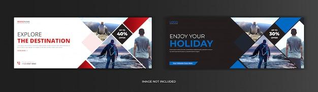 Agencia de viajes turísticos publicación en redes sociales portada de facebook línea de tiempo web en línea