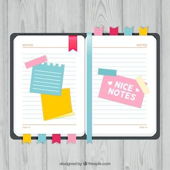 Agenda con agradables notas
