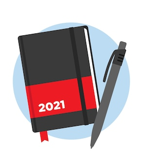 Agenda del año 2021 con bolígrafo