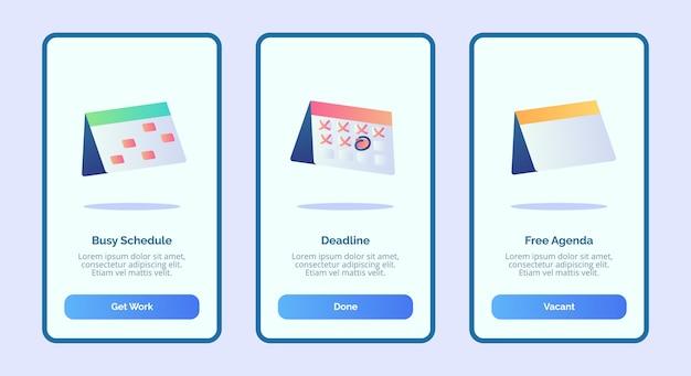 Agenda gratuita de fecha límite de horario ocupado para la interfaz de usuario de la página de banner de plantilla de aplicaciones móviles