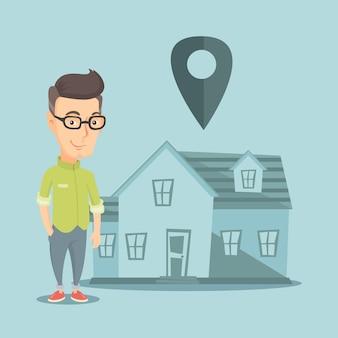 Agente de bienes raíces en casa con puntero de mapa.