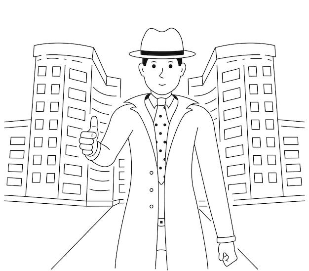 Agente de bienes raíces muestra los pulgares para arriba. un hombre de buen humor muestra un gesto de aprobación o aprobación. un chico vestido con un traje y un sombrero está parado cerca del edificio.
