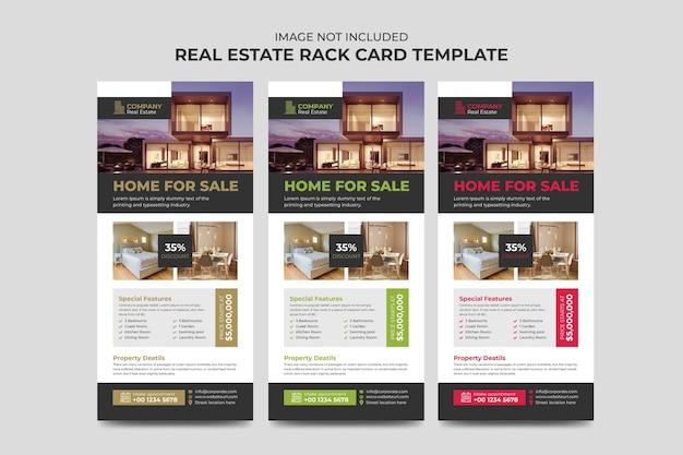 Agente de bienes raíces y plantilla de volante de negocios de construcción o tarjeta publicitaria