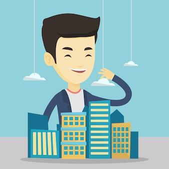 Agente de bienes raíces que presenta el modelo de ciudad.