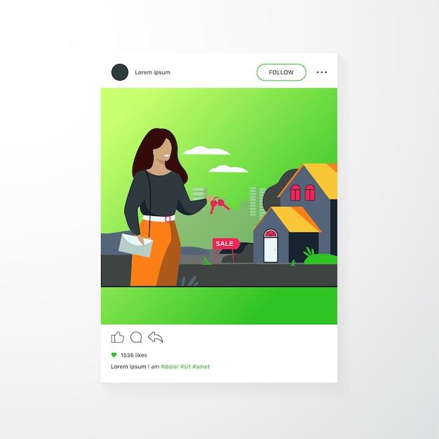 Agente de bienes raíces sosteniendo llaves y parado cerca del edificio aislado ilustración vectorial plana. mujer de dibujos animados y casa en venta