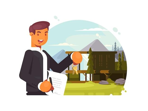 Agente inmobiliario exitoso con llaves y contrato vende propiedad
