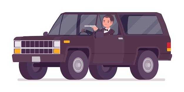 Agente secreto hombre, caballero espía del servicio de inteligencia conduciendo un automóvil