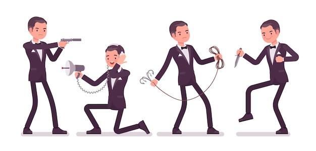 Agente secreto hombre, caballero espía del servicio de inteligencia, vigilante para descubrir datos, recopilar información política, comercial, cometer espionaje corporativo con herramientas. ilustración de dibujos animados de estilo