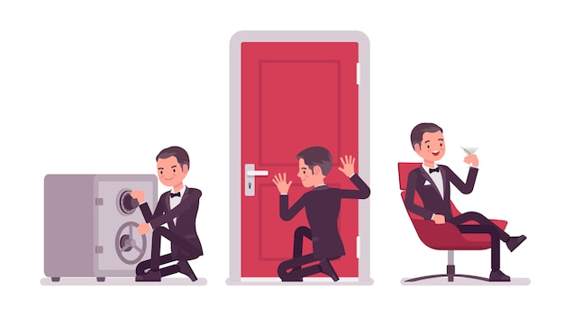 Agente secreto hombre, caballero espía del servicio de inteligencia, vigilante para descubrir datos, recopilar información política o comercial, cometer espionaje corporativo, relajarse. ilustración de dibujos animados de estilo