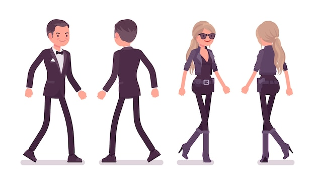 Agente secreto hombre y mujer caminando