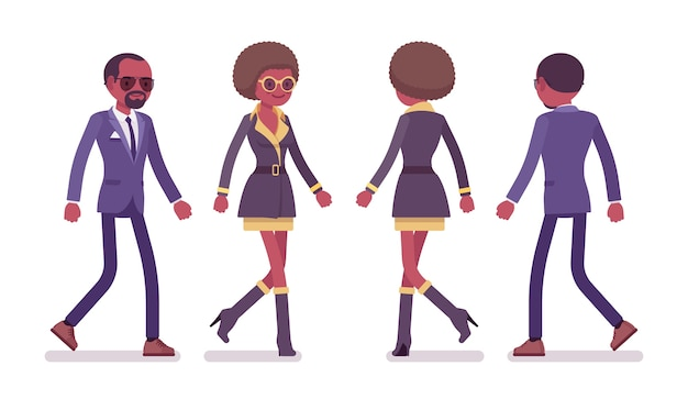 Agente secreto hombre y mujer espías caminando