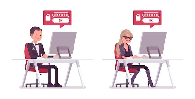 Agente secreto hombre y mujer piratería informática