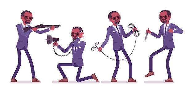 Agente secreto hombre negro, caballero espía del servicio de inteligencia, descubre datos, recopila información política, comercial, comete espionaje corporativo con herramientas. ilustración de dibujos animados de estilo