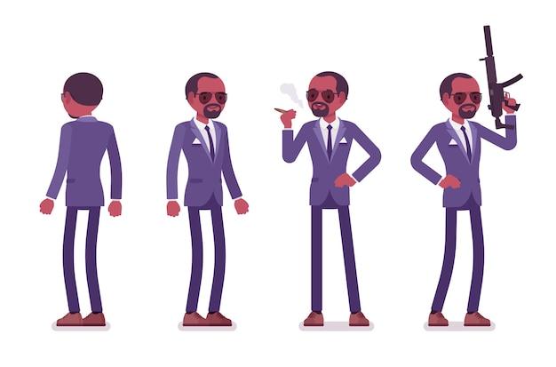 Agente secreto hombre negro, caballero espía del servicio de inteligencia, vigilante para descubrir datos, recopilar información política, comercial, cometer espionaje corporativo. ilustración de dibujos animados de estilo