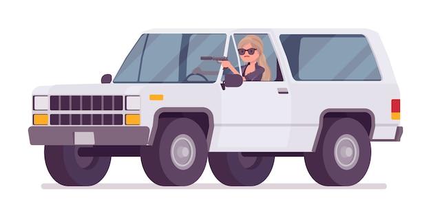 Agente secreto mujer, dama espía del servicio de inteligencia, el observador descubre datos, recopila información política, comercial, comete espionaje corporativo, conduce un automóvil. ilustración de dibujos animados de estilo