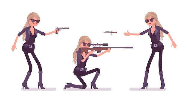 Agente secreto mujer, dama espía del servicio de inteligencia, el observador descubre datos, recopila información política, comercial, comete espionaje corporativo, con rifles. ilustración de dibujos animados de estilo