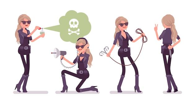 Agente secreto mujer, dama espía del servicio de inteligencia trabajando