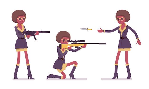 Agente secreto mujer negra, dama espía del servicio de inteligencia, descubre datos, recolecta información política, comercial, comete espionaje corporativo, con rifles. ilustración de dibujos animados de estilo