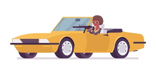 Agente secreto mujer negra, dama espía del servicio de inteligencia, descubre datos, recopila información política, comercial, comete espionaje corporativo, conduce un automóvil. ilustración de dibujos animados de estilo