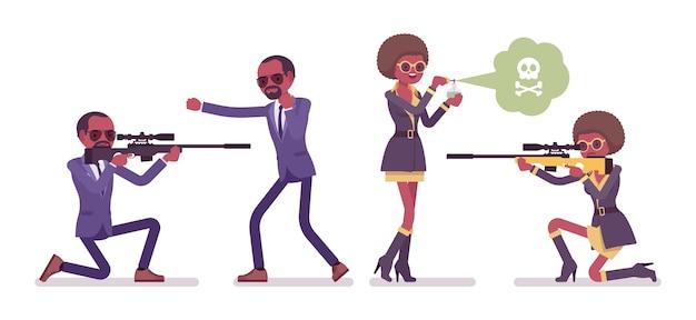 Agente secreto negro hombre y mujer