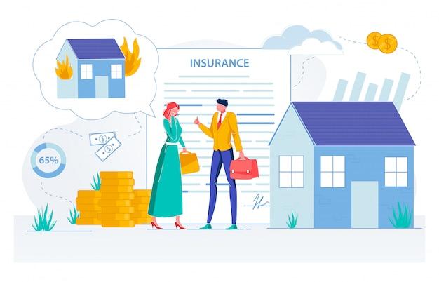 Agente de seguros de propiedad haciendo trato con el cliente.